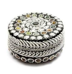 Шкатулка круглая с камнями (d-11, h-5.5 см)